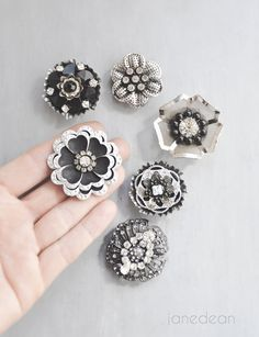 6 Rhinestone Flower Magnets black and silver flowers by janedean