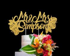 Personalized Wedding cake topper Mr and Mrs Last Name couple cake topper Tropical theme wedding decor Anniversary gift Flower ornament Birthday Msgs, Birthday Cake, Wedding Vows, Wedding Cakes, Wedding Stuff, Personalized Wedding Cake Toppers, Cake Decorating, Wedding Decorations, My Etsy Shop