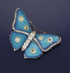 Child and Child Enamel, Diamond and Yellow Sapphire Butterfly Brooch c.1896. Photo Courtesy of Christie's.