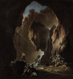 Alessandro Magnasco, also known as il Lissandrino, (Italian late-Baroque painter, 1667–1749) Shepherds in a grotto. Oil on canvas, 41¼ x 38¼ in (104.7 x 97.2 cm). Christie's, Old Masters & 19th Century Art, June 2010, New York.