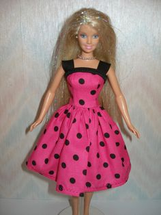 Handmade Barbie clothes  Pink and black polka by TheDesigningRose, $7.00