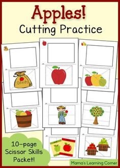 Free Cutting Practice Worksheets: Apples!  Cut out the bottom picture along the dotted lines, then glue it in the correct order in the box.