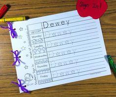 student sign in sheets editable kindergartenklub com pinterest