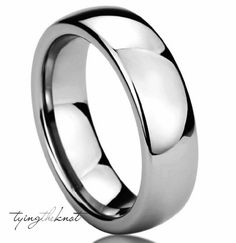 Titanium Ring 6mm Polished Domed Silver Mens by TyingTheKnot925