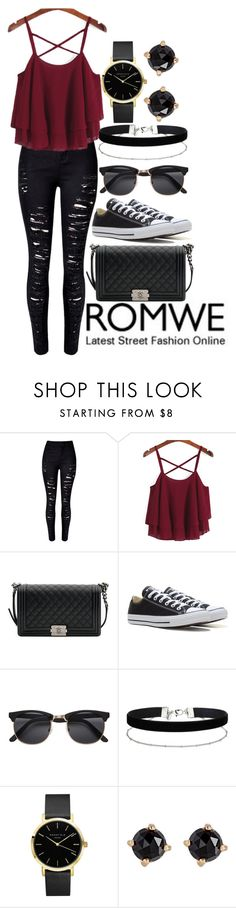 """""""ROMWE street style"""" by amyraines-1203 ❤ liked on Polyvore featuring WithChic, Chanel, Converse, Miss Selfridge and Irene Neuwirth"""