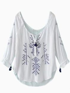 Shop Emboidery Pattern and Curved Hem Loose Blouse from choies.com .Free shipping Worldwide.