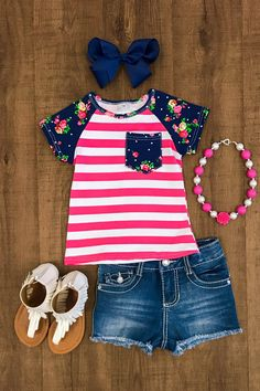 Navy Floral Pocket T-Shirt - Boutique Outfits - Kids Outfit Little Girl Outfits, Cute Outfits For Kids, Toddler Girl Outfits, Little Girl Fashion, Toddler Fashion, Kids Fashion, Toddler Girls, Moda Kids, Cute Baby Clothes