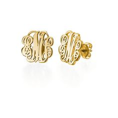 Monogram Stud Earrings 18k Gold Plated ($70) ❤ liked on Polyvore featuring jewelry, earrings, diamond earrings, initial stud earrings, stud earrings, stud earring set and monogram jewelry