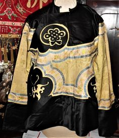 Antique Chinese Silk Embroidered Robe 19thc Qing Ching Buddhist Knot Embroidery #ManchuQingDynasty