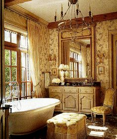 """Vanity Sink: """"We've sold many sideboards that interior designers and clients have adapted as bath vanity sinks adding much more interest, style & value than standard stock or custom cabinets"""" Carolyn Williams, Antiques & Interiors, Atlanta"""