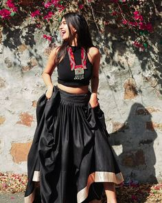 Image may contain: 1 person, standing and outdoor Garba Dress, Navratri Dress, Dress Skirt, Choli Designs, Lehenga Designs, Indian Wedding Outfits, Indian Outfits, Indian Weddings, Wedding Dresses