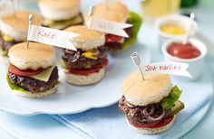 Are you looking for the perfect cocktail hour or late night food bar addition? Why not an all-American classic, Mini Burgers. You can also have some fun with them and add cute little DIY toothpicks that say