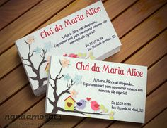 Convite Birds Passarinho para festa infantil e chá de bebê.
