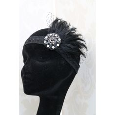 1920s Flapper Headband Style Headband Feather Fascinator Fancy Dress... ❤ liked on Polyvore