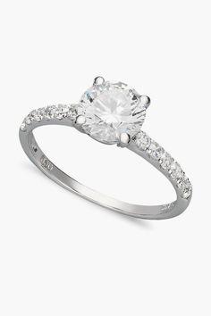 Arabella 14k White Gold Ring, Swarovski Zirconia Wedding Ring #sponsored