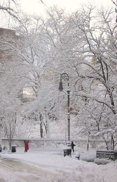 Gramercy park in snow. New york city winter.