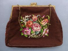 Vintage 1930's 40's Petit Point Needlepoint Dark Brown Handbag Purse Roses | eBay