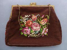 Vintage 1930's 40's Petit Point Needlepoint Dark Brown Handbag Purse Roses | eBay