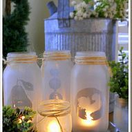 Simple project with mason jars and spray on glass frosting. I use the… :: Hometalk