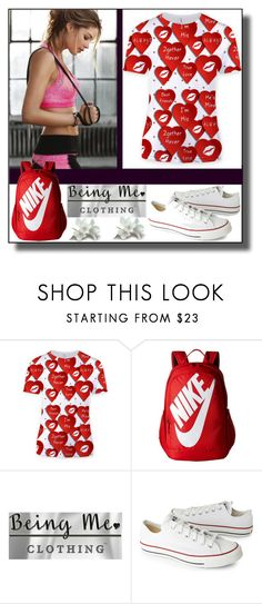 """""""Valentine Love Sublimation T-Shirt"""" by dzemila-c ❤ liked on Polyvore featuring NIKE and Converse"""