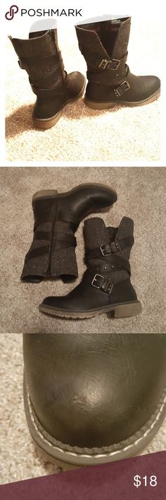Maurices Boots Black, zip up boots with cute stud and buckle details. Small scuff on left toe- hardly noticeble. Good condition! Maurices Shoes Combat & Moto Boots