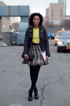 Echoes my go-to look for fashion week: simple top, zany skirt, tough jacket. Love!