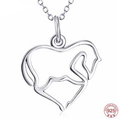 Sterling Silver Horse Heart Pendant Necklace