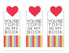 Adorable Valentine bookmarks. Click for 15 FREE bookmark printables.