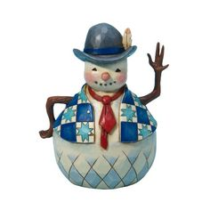 Jim Shore Heartwood Creek from Enesco Small Snowman with Tie Figurine