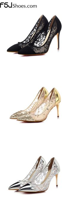 Women's Style Pumps and D'orsay Heels Winter Party Outfit Women's Lelia Black, Gold, Silver Pointy Toe Lace Stiletto Heels Pumps Women's Chic Fashion Wedding Shoes Elegant Wedding Dresses Shoes New Years Eve Party Outfit  FSJ