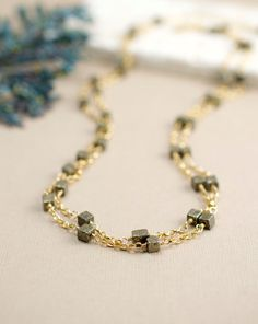 Pyrite Necklace in Gold Fill Multi Layered Strand Fashion Jewelry by BlueRoomGems, $108.00