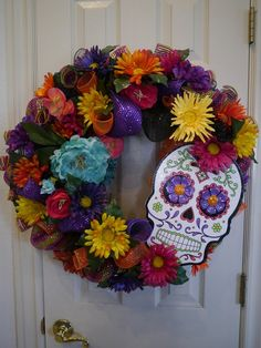 Dia De Los Muertos, Day of the Dead Wreath, Free Shipping, Halloween Decor, Day of the Dead, Skull,