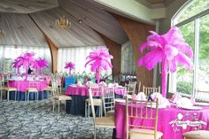 too pink but love the idea of the feather centerpieces