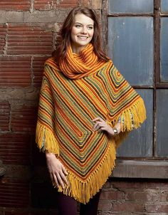 Knit Poncho Rebound - Lavish looks revive the ultimate comfort wrap in Knit Poncho Rebound from Leisure Arts. Nine widely varied designs include Fringed Fisherman, Zig-Zag Lace-Up, Terrific Textures, Asymetrical, Loopy Blanket, Fiesta Stripes (with attached scarf), Lace Aplenty, All-Around Elegance (with ribbed cowl neckline), and Hooded Breeze. The designs are knitted using a variety of yarns, from fine weight to super bulky.