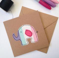 New baby girl card in an elephant design. Fabric mixed media card for elephant lover, nursery art decor, 1st birthday card
