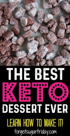 KETO Puppy Chow recipe!! This is the BEST keto dessert recipe you'll ever try. I've recreated the original Puppy Chow (Muddy Buddies) recipe in a keto version that tastes INCREDIBLE and contains only 3g net carbs per serving. This easy keto dessert recipe will become a new household favorite! It also doubles as a keto fat bomb recipe. (Make into a dairy-free recipe by using dairy-free butter!) #ketodessert #keto #ketorecipes #ketofatbomb #ketogenic
