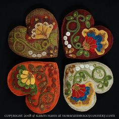 """Wool Applique Pattern """"Jacobean Heart"""" sachet pin cushion tuck pillow embroidery hand dyed wool – Horse and Buggy Country Wool Applique Designs"""