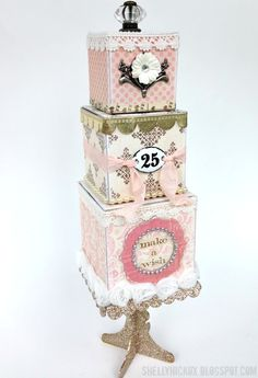 Stamptramp: Birthday Cake Artist Trading Blocks. Created with @eileen_hull's 3D Cube and Block dies from @Sizzix plus embellishments and stamps from Tim Holtz photo cube