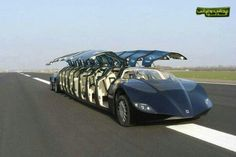 Amazing car. The sides open up and it has 18 seats in it.