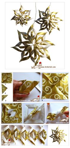 wrapping paper Christmas ornament :: maybe glue two sheets back to back for more color?    ESTRELLA DE LA NAVIDAD