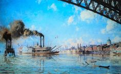 Painting of old Saint Louis Riverfront.