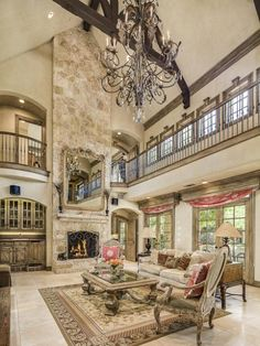Truss-ceiling Family room with catwalk, Dallas. Gorgeous family room! , from Iryna
