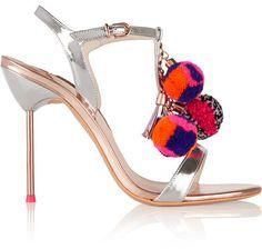 Sophia Webster - Layla Pom Pom Embellished Mirrored-leather Sandals - Silver