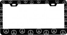 Customized Black Matte Metal License Plate Frame with Peace Symbols Pattern Design