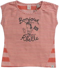 "Scotch&Soda - coral striped t-shirt rbelle - Coral t-shirt with pale orange stripes and dark grey glitter print ""Bonjour, j mappelle mademoiselle Rbelle"". Fine stripes for the front and broad stripes for the back. Nice nekline and dropped shoulders. 100% cotton."