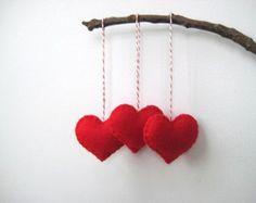 Red Heart Eco Felt Ornament - Handmade - Valentine's Day - Christmas Tree Ornament - Holiday Decoration