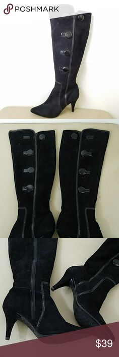 ANTONIO MELANI BOOTS 3.5 heel 18 inches from top to sole I think fits more 7.5 sz but says 8 On right boot, button has Nick, see photos  Mild rub on heel, see photos ANTONIO MELANI Shoes Over the Knee Boots