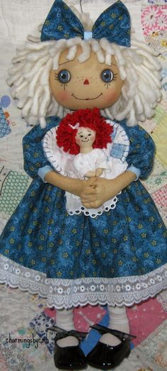 """Jointed Annie """"Angels Watching Over Me"""" Doll Toys, Baby Dolls, Ann Doll, Raggedy Ann And Andy, Child Doll, Soft Dolls, Doll Crafts, Fabric Dolls, Doll Face"""