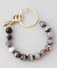 Speckled Agate Bead Bracelet