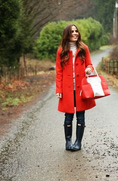 That gorgeous coat with the practical rain boots really brightens up a rainy day.